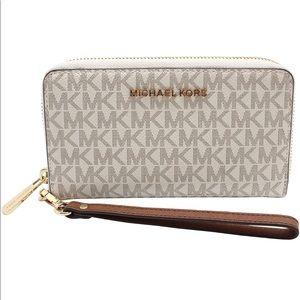 Michael Kors Phone Case Wristlet MK Vanilla